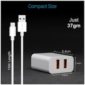 Portronics Travel Adapter & Wall Charger - 2 USB Ports