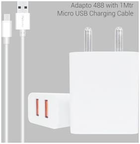 ADAPTO 488 Quick Charger USB Wall Adapter with  2.4A Quick Charging Dual USB Port + Micro USB Charging Cable for All iOS & Android Devices (White)