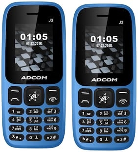 Adcom J3 Blue Mobile - (Dual SIM  1.8 inch Display  1050 mAh  Battery Pack of 2)