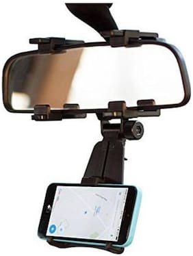 Adjustable Mobile Holder / Mobile Stand / Car Phone Holder Rear View Mirror Mount Holder Car Stand With Quick One Touch Technology For Mobiles Phones (Black ) By Tech-X