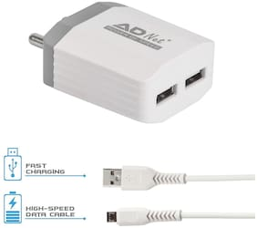 Adnet 3.1Amp 5V Dual Port Fast wall charger with Fast Charging Micro Usb Cable - Indian Plus