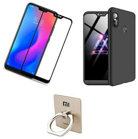 All In One Combo Pack For Redmi Note 6 Pro(3 IN 1 Pack)  Fully Protected With Curved Edges 5D Tempered Glass Guard + Stylish [BLACK] hard Case + Mobile Ring