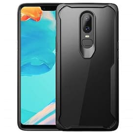 OnePlus 6 Silicone Back Cover By EXOTIC FLOURISH ( Black & Transparent )