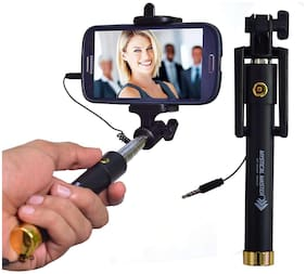 ALLNEEDS Brand Compact Selfie Stick Wired for iPhone and Android Phones