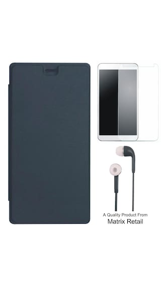 new product ef27f f24ec AlphaTech Flip Cover for Yu Yunique YU4711 with Free Tempered Glass Screen  Protector and Free Earphones