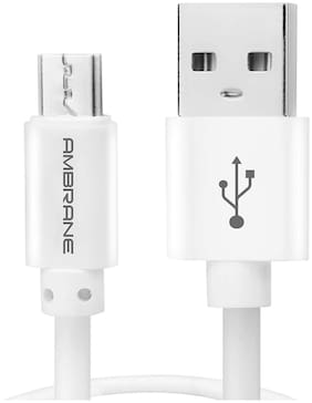 Ambrane ACM-1 2.4A Micro USB Fast Charging Cable for Android Devices (1 Meter, 3.3 Feet) - (White)