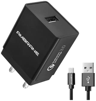 Ambrane AQC-56 Quick Charge 3.0A Fast Wall Charger + Free Micro Usb Cable - BLACK