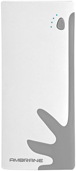Ambrane P-1122 10000 mAh Power Bank - White & Grey