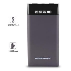 Ambrane PLUSH PP-10 10000mAh Power Bank Polymer Battery - Grey