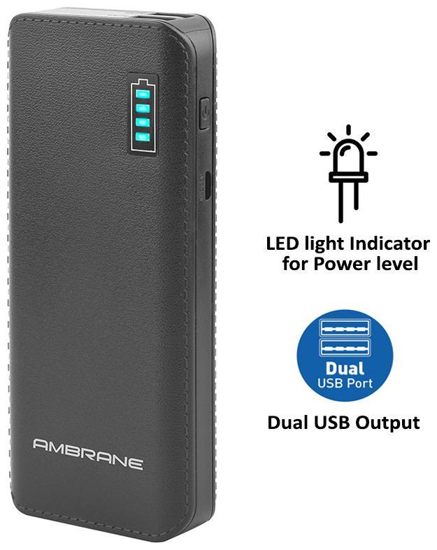 Ambrane Power Bank P-1133 12500mAh-Black