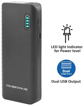 Ambrane P-1133 12500 mAh Power Bank - Black