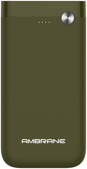 Ambrane PP-150 15000 mAh Lithium Polymer Power Bank with Type C Input Charging Slot  (Olive Green)