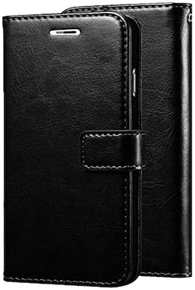 Oppo A5 2020 Leather Flip Cover By Americhome ( Black )