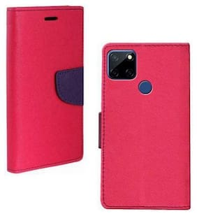 Realme C12 Rubber Flip Cover By Americhome ( Pink )