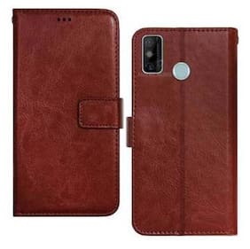 Tecno Spark Go 2020 Faux Leather Flip Cover By Americhome ( Brown )