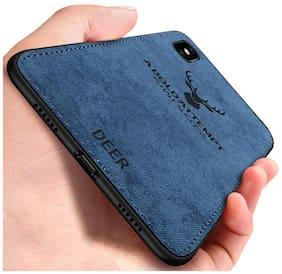 Apple  iPhone X/ iphone XS Light Slim Deer Head Pattern Non-Slip Shockproof Soft TPU Bumper Hard PC & Cloth Back Hybrid Protection Case - Blue