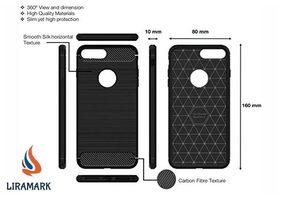 Apple iPhone 8 Plus LIRAMARK Shockproof Rugged Armor Carbon Fiber Silicone Soft Back Case Cover - Black