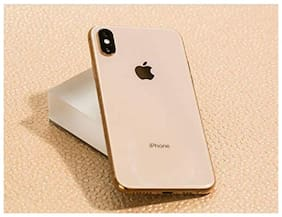 Apple iPhone X/XS (Imask) Gorgeous Mirror Look Apple Logo Slim Fit Back Cover for iPhone X/XS (Gold)