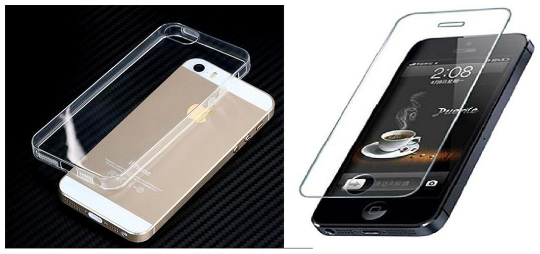 Apple iphone 5S  transparent back cover with tempered glass  crystal clear soft back cover