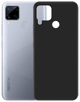 APYLOOK Silicone Soft Back Cover For Realme C15 ( Black )