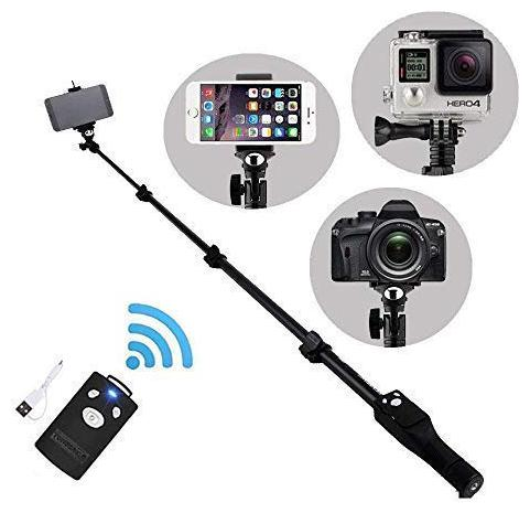 ARHUB Bluetooth Selfie Stick with Remote Shutter;YT 1288 Adjustable Stick for All Devices