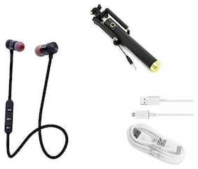 ARHUB Combo Pack of USB Data Cable;Audio Bluetooth Headphone Earphone with Selfie Stick Multi