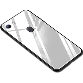 Artistque Luxurious Shockproof TPU Bumper Back Glass Case Cover with Scratchfree Body and Toughened Glass for Oppo F7 - White
