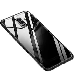 Artistque Luxurious Shockproof TPU Bumper Back Glass Case Cover with Scratchfree Body and Toughened Glass for Samsung Galaxy J8 - Black