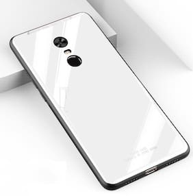 Artistque Luxurious Shockproof TPU Bumper Back Glass Case Cover with Scratchfree Body and Toughened Glass for Redmi Note 5 Pro -White