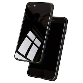 Artistque Luxurious Shockproof TPU Bumper Back Glass Case Cover with Scratchfree Body and Toughened Glass for Oppo Realme 1 -Black