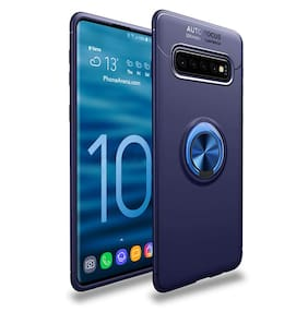 Artistque Sleek Rubberized Chrome Plating Ring Stand Back Cover Case For Samsung Galaxy S10 - Blue