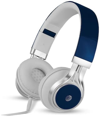 AT&T Hpm10-blu Over-ear Wired Headphone ( Blue )