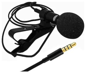 Audio Microphone 3.5mm Jack Plug Mic Stereo Mini Lapel Collar MIC Wired External Clip Micro - Black
