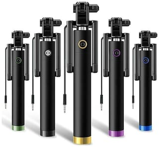 AUX WIRE SELFIE STICK FOR ALL SMARTPHONES (Assorted)