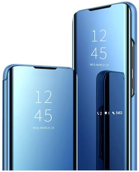 BACKLUND Hard Case & Glass Back Cover For Realme 5 Pro ( Blue )