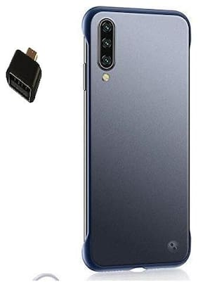 Backlund Framless Case & Cover for Samsung Galaxy A50S Shock Proof Ultra Slim Frameless Design,Complete Protection Hybrid Bumper Hard Back Case Cover Designed for Samsung A50S (Blue) (OTG Adapter)