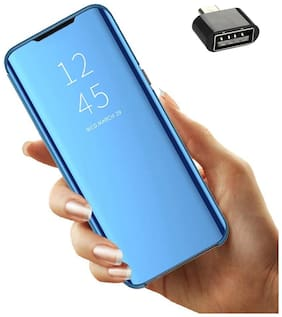 Backlund Mirror Flip Stand Case for Xiaomi Mi A3  Mi A3 Luxury Smart Slim Fit Clear View Window Electroplate Plating 360 Full Body Protective Cover with Screen Protector for Redmi A3 Blue