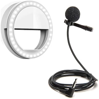 Ayuhm  Rechargeable Night LED Selfie Flash Light with 3.5mm Clip On Mini Lapel Lavalier Microphone (Black)
