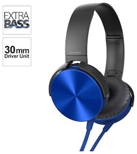 AZANIA Extra BASS On-Ear Wired Headphone ( Blue )