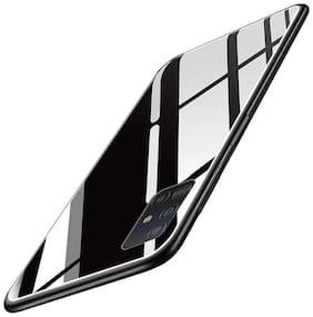 EXOTIC FLOURISH Glass & Silicone Armor Case & Back Cover For Samsung Galaxy A71 ( Black )