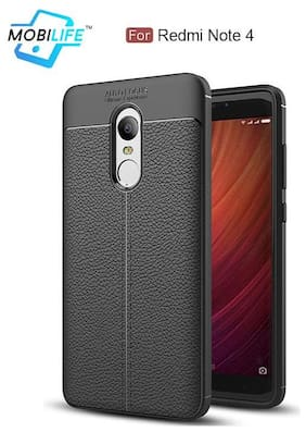 Back Case For Redmi Note 4 Mobilife(TM) Soft Silicone TPU Flexible Gel Leather Back Effect Auto Focus Back Cover For Redmi Note 4