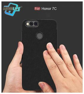 Back Case For Honor 7C Mobilife(TM) Soft Silicone TPU Flexible Gel Leather Back Effect Auto Focus Back Cover For Honor 7C  (BLACK)