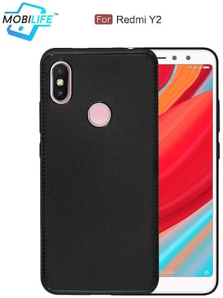 Back Case For Redmi Y2 Mobilife(TM) Soft Silicone TPU Flexible Gel Leather Back Effect Auto Focus Back Cover For Redmi Y2  (BLACK)