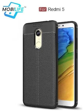Back Case For Redmi 5 Mobilife(TM) Soft Silicone TPU Flexible Gel Leather Back Effect Auto Focus Back Cover For Redmi 5  (BLACK)