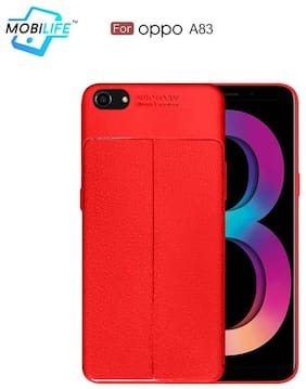 Back Case For OPPO A83 Mobilife(TM) Soft Silicone TPU Flexible Gel Leather Back Effect Auto Focus Back Cover For OPPO A83 (RED)
