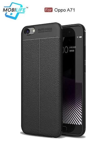 Back Case For OPPO A71 Mobilife(TM) Soft Silicone TPU Flexible Gel Leather Back Effect Auto Focus Back Cover For OPPO A71 (BLACK)