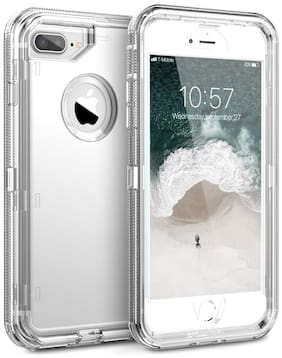 Back Cover Case for iPhone 6 Plus/6S Plus/iPhone 7 Plus/8 Plus 3 in 1 Transparent Full Body Rugged Shockproof Armor Case Clear Hard PC Back TPU Bumper Protection Cover Cases - Transparent