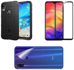 Back Cover for Xiaomi Redmi Note 7 / 7S / 7 Pro (Black ) + 9H Tempered Glass + Back Guard Pack  (Black, Dual Protection)