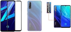ACCESORIES LEGACY  [3 in 1] for Vivo Z1x;Vivo S1 11D/ 21D gorilla tempered glass with clear 3d carbon fiber back skin rear screen guard protector with camera protector tempered glass