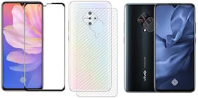 ACCESORIES LEGACY  [3 in 1] for Vivo S1 Pro 11D Edge to Edge Tempered Glass with Clear Transparent Fiber Back Skin Rear Screen Guard with Camera Lens Protector Tempered Glass
